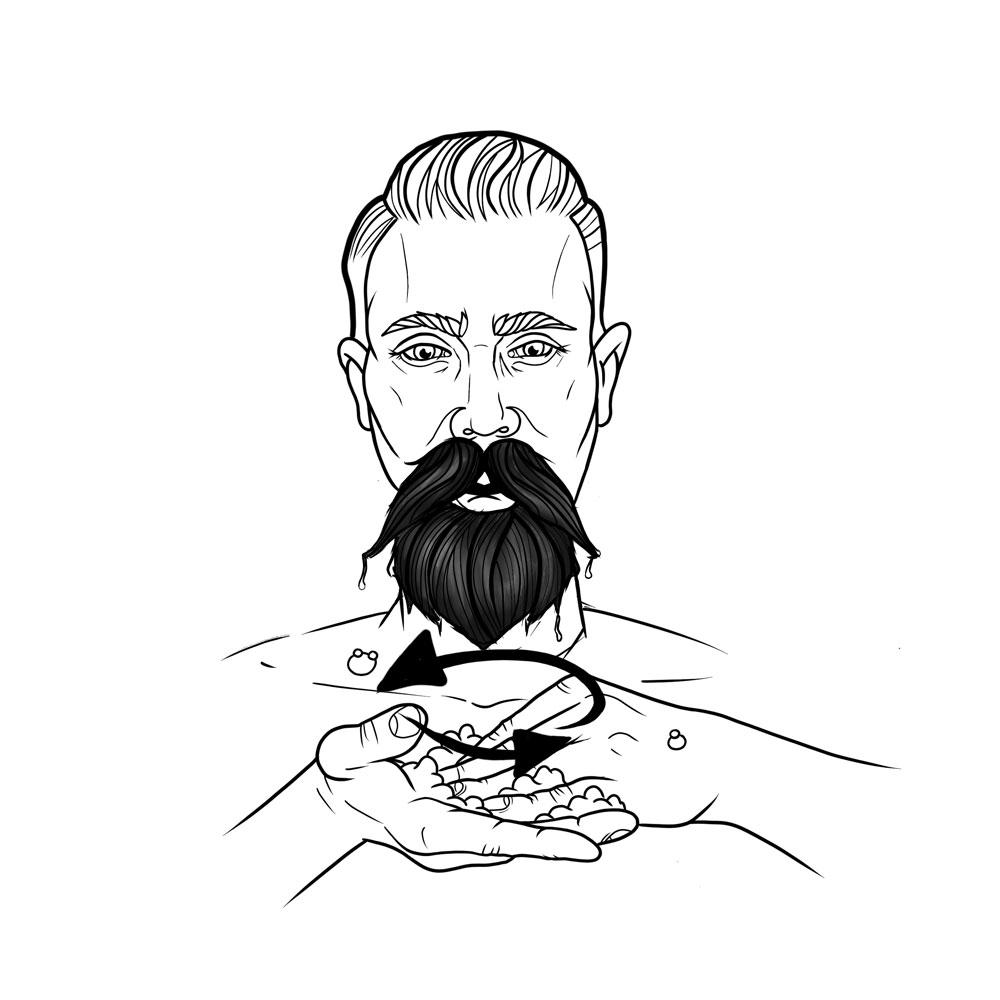 Dosiere die Bartseife zwischen deinen Handflächen und verreibe sie langsam.