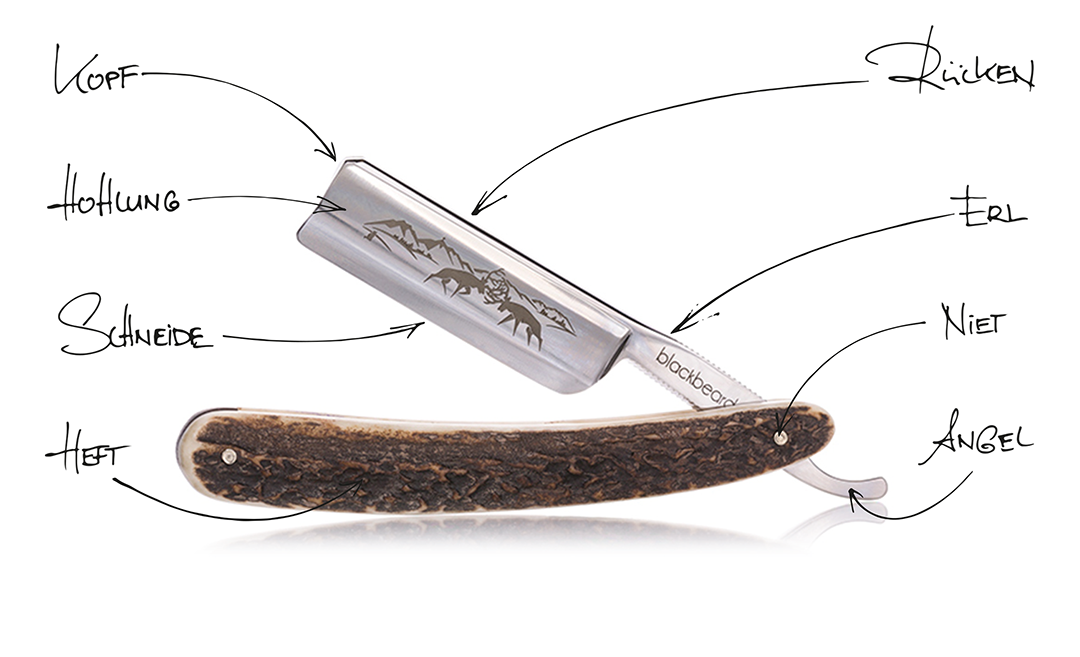 Ein Rasiermesser besteht eigentlich immer aus der Klinge mitsamt Kopf, Rücken, Erl und Angel, welche über den Niet mit dem Heft verbunden sind. Schneide und Hohlung sind der Teil, der später dann für die Messerrasur entscheidend sind.