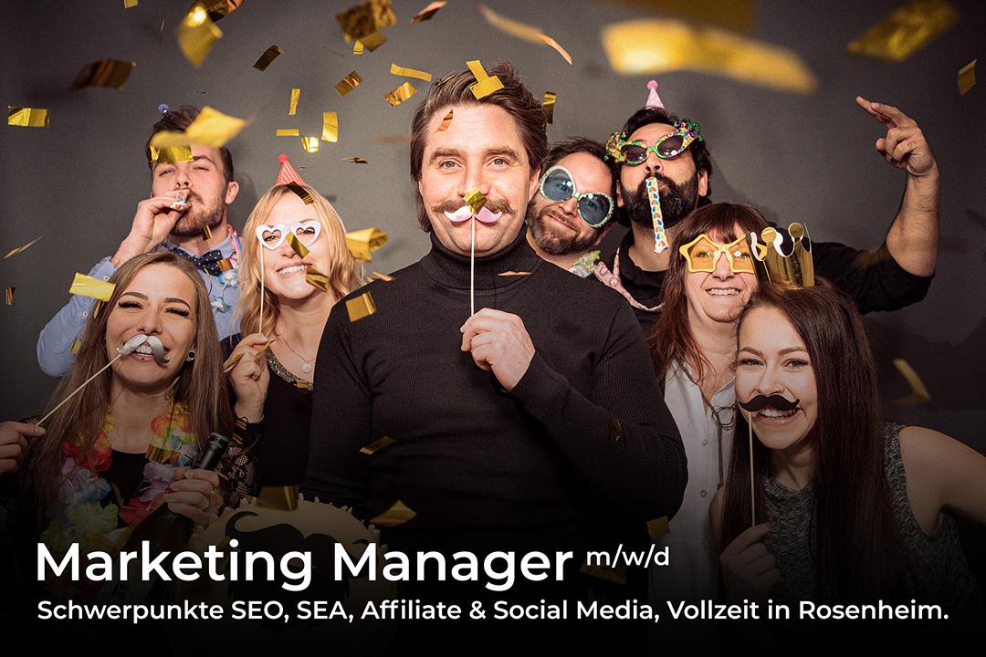 Stellenangebot: Marketing Manager m/w/d, Schwerpunkte SEO, SEA, Affiliate & Social Media, Vollzeit in Rosenheim.
